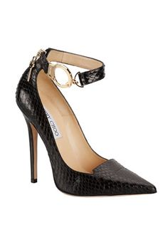 Jimmy Choo fall 2013 black ankle strap pointy toe pumps heels