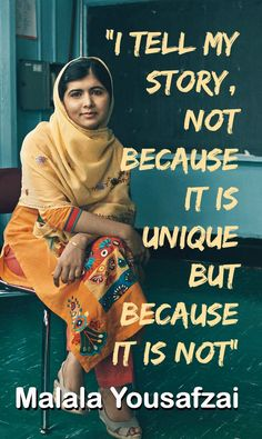 Malala Yousafzai, a young woman who has raised her voice, despite her attackers, to make a change for our world's children to have quality education for all. She inspires youth to dream big, work hard and never give up! Malala Yousafzai Quotes, Motivation, Tell My Story, Intersectional Feminism, Badass Women, Statements, Guided Meditation, Powerful Women, Human Rights