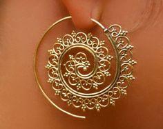 Beautiful Decorated Brass Hook Earrings - Tribal Jewelry - Hook Piercings - Brass Jewelry - Native Jewery - Ethnic Jewelry