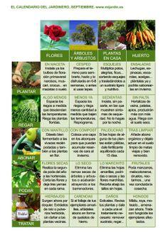 Calendario del jardinero Septiembre
