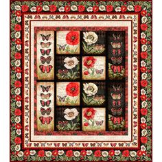 Wilmington Prints Harlequin Poppies Butterfly Poppy Garden Windows Twin Quilt Kit