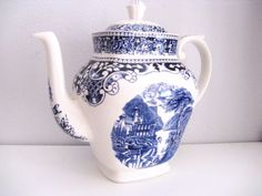 Antique Royal Staffordshire Transferware Teapot Edwardian HANDPAINTED $93