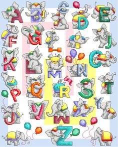 Elephant ABC Cross Stitch Pattern by lucieheaton on Etsy