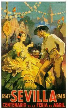 Cartel de la Feria de Sevilla 1948. Gustavo Bacarisas.