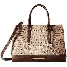 Brahmin Finley Carryall (Barley) Handbags ($425) ❤ liked on Polyvore featuring bags, handbags, embossed leather purse, leather hand bags, leather purses, satchel handbags and brahmin purses