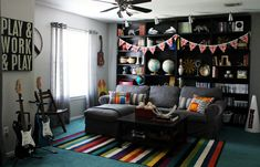 Curious Details: Game Room Before & After Teen Game Rooms, Boys Game Room, Small Game Rooms, Video Game Rooms, Kids Rooms, Bonus Rooms, Game Room Design, Family Room Design, Interior Room Decoration