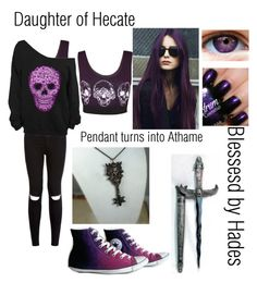"""Daughter of Hecate, Blessed by Hades"" by daughterofapollo7 ❤ liked on Polyvore featuring moda, WearAll y Converse"