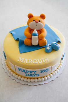 Happy 100 Days Baby Marquis! Baby celebration cake with an adorable bear and cute baby icons.