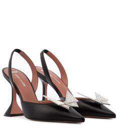 Amina Muaddi - x AWGE Phoenix embellished leather pumps | Mytheresa Thigh High Sandals, Black Gladiator Sandals, Suede Pumps, Leather Sandals, Pumps Heels, Metallic Leather, Black Leather, Phoenix, Zara