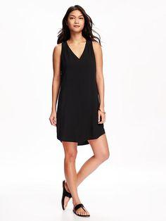 Patterned V-Neck Shift Dress for Women
