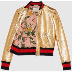Gucci Crackle Leather Bomber Jacket ($3,500) ❤ liked on Polyvore featuring outerwear, jackets, gucci, real leather jackets, leather zip jacket, flight jacket and zipper jacket