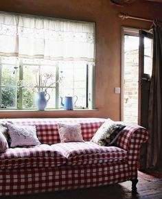 Love This Red Plaid Couch