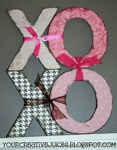Cute Idea!! I would like to use letters to spell my kids names and hang them in their rooms!