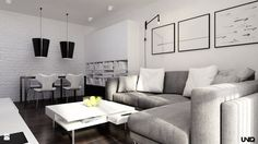 Salon styl Minimalistyczny - zdjęcie od uniq - Salon - Styl Minimalistyczny - uniq Couch, Living Room, Black And White, Furniture, Home Decor, Drawing Rooms, Settee, Blanco Y Negro, Sofa