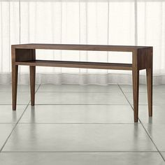 Marin Shiitake Solid Wood Console Table | Crate and Barrel- or sofa table