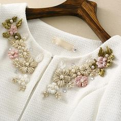 Dear, access is Autumn Spring women's beaded diamond embroidery Jacket short White cardigan Coat Elegant ZA Brand Outwear Casaco Feminino Good a few ideas for wo. Embroidery Flowers Pattern, Hand Work Embroidery, Flower Embroidery Designs, Couture Embroidery, Embroidery Suits, Hand Embroidery Stitches, Embroidery Fashion, Ribbon Embroidery, Sweater Embroidery