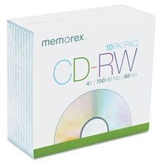 CD-RW Discs, 700MB/80min, 4x, w/Slim Jewel Cases, Silver, 10/Pack by Memorex. $15.63. Share large files easily with business associates, friends, and family. Enjoy convenient, cost-effective data management; use for routine backups, authoring/editing multimedia projects, large file storage, and more. Rewritable up to 1,000 times for worry-free overwriting. Disk Type: CD-RW; Capacity (HD Video): N/A; Capacity (Video): N/A; Capacity (Music): 80.0 min. Allow users to record, re...