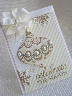 Paper Wishes: Festive Friday Challenge #5...Aqua, blush and gold...this looks like an AG die cut