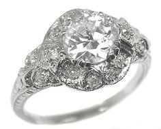 Art Deco Style 0.94ct Diamond Platinum Engagement Ring