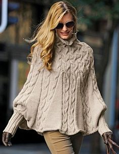 Hand Knit Turtleneck Poncho with sleeves from Alpaca blend yarn .Made to order - Poncho stricken Poncho Knitting Patterns, Knitted Poncho, Hand Knitting, Vintage Knitting, Vogue Knitting, Knit Shrug, Knitting Sweaters, Cable Knitting, Cozy Sweaters