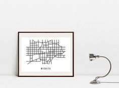 Wichita Abstract Map  Black and White Art Print  by Postery