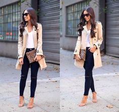 beige trench coat outfit- How to dress smart casual in summer http://www.justtrendygirls.com/how-to-dress-smart-casual-in-summer/