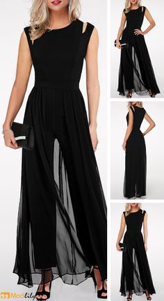 black jumnpsuits, fashion outfit, wedding and party. Classy Outfits, Chic Outfits, Mother Of The Bride Trouser Suits, Mode Ab 50, Funeral Outfit, Lil Black Dress, Mode Outfits, Dress To Impress, Designer Dresses