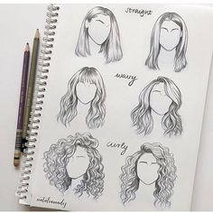 to draw straight wavy curly hair different sides angles perspectives views o., How to draw straight wavy curly hair different sides angles perspectives views o., How to draw straight wavy curly hair different sides angles perspectives views o. Drawing Techniques, Drawing Tips, Drawing Reference, Painting & Drawing, Design Reference, Hair Reference, Hair Painting, Makeup Drawing, Sketching Tips