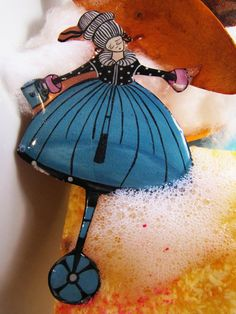 Alice on wheel - pin Fashion Backpack, Etsy Seller, Bubbles, Alice, Hand Painted, Creative, Handmade, Beauty, Jewelry