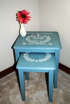 Stenciled Nesting Tables refinished in CeCe Caldwell Destin Gulf Green and Vintage White Chalk Paint.    #CeCeCaldwell #ChalkPaint  #Furniture #Refinishing #Painting #Stencil