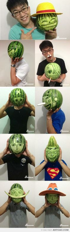 Awesome One Piece watermelon carvings