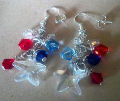American patriotic earrings; star earrings; red, white & blue earrings; flag earrings;4th of july earrings; patriotic earrings by FarringtonBead on Etsy