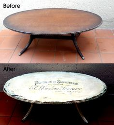 refurbished coffee table using chalkpaint and a graphic print