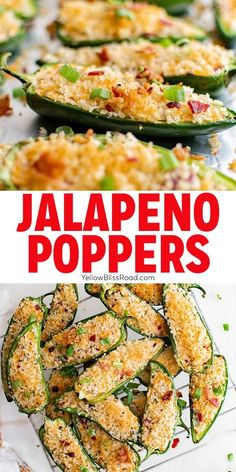 Jalapeno Poppers are jalapenos stuffed with a cream cheese and bacon and a crispy breadcrumb topping. They are the perfect appetizer for any occasion! Finger Food Appetizers, Appetizer Dips, Yummy Appetizers, Finger Foods, Appetizer Recipes, Dessert Recipes, Jalapeno Poppers, Avocado Toast, Bacon