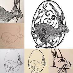 Of we dit jaar weer eieren gaan verstoppen in de tuin, vraagt #zijvan10. Natuurlijk! #paashaas #maureenvertelt #haas #paasei #easterbunny #easter #hare #linedrawing #handdrawn
