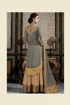 Grey & Beige color Net fabric Lehenga Choli suit by VardhitaSarees