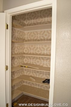 Custom Pantry Build Out- the shelves are in! by leona Custom Pantry Build Out- the shelves are in! by leona - Pantry With One Redo Home Organization, Shelves, Linen Closet, Pantry Remodel, Pantry Redo, Home Kitchens, Diy Pantry, Hall Closet, Shelving