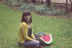AMI Club Wear, Polka Dot Dress, Watermelon Bag, Summer Fashion, Vintage Fashion, Zooey Deschanel, style, outfit ideas, women, dress, wedding, collection, inspiration, polka dot, midi dress