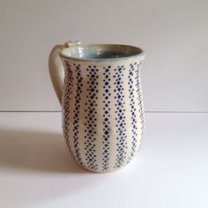 Ceramic Coffee Mug with Stripes of Blue Dots, $28 by Tulane Road Pottery in Clintonville Ohio