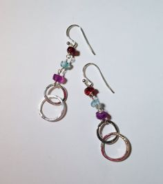 Sterling Silver Hammered Hoop and Gemstone by SpiralVineDesigns