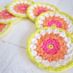 Crochet Summer Coasters in Cheerful Colors, What a quick way to brighten a room, or make a great hostess gift. ~MWP - Bright & Colourful Free Crochet Patterns - Heart Handmade uk