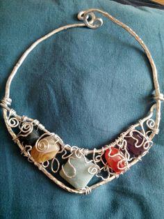 Collier wire, alluminio, agate  di vari colori e amazzonite