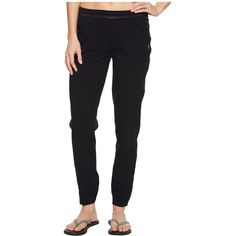 Mountain Hardwear Right Bank Scrambler Pants (Black) Women's Casual... (110 CAD) ❤ liked on Polyvore featuring pants, pocket pants, tapered leg pants, mountain hardwear, elastic waist pants and long pants