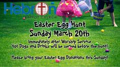 Hebron's Palm Sunday Easter Egg Hunt! Mark your Calendars for Sunday March 20th after our Worship Service. The Hunt will be on the Church grounds. Invite your family and your friends. This will be a great day of Worship Fun and Fellowship!