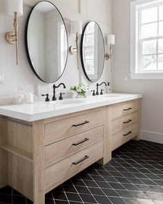 love the mirrors and the sconces in this Master Bath Reveal: Heights House Master Bath Vanity, Modern Master Bathroom, Modern Bathroom Vanities, Small Master Bath, Bad Inspiration, Bathroom Inspiration, Travel Inspiration, Bathroom Renos, Bathroom Interior