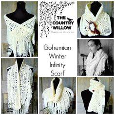 How To Free Crochet Winter Bohemian Infinity Scarf Pattern