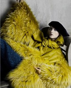 anotherboheminan: 2007 Bazaar Russia (via Fur Fashion, Couture Fashion, Fashion Art, Editorial Fashion, Mellow Yellow, Yellow Black, Chartreuse Dress, Fur Clothing, Wearing A Hat