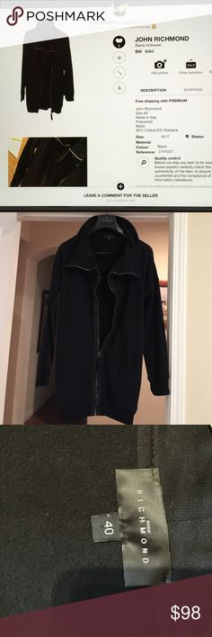 John Richmond Runner's jacket black, size IT40(US4), made in Italy, 95% Cotton/5% Elastane, stretchy, worn in excellent condition Jackets & Coats