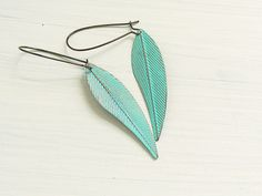 Chevron Feather Earrings Hand Painted Turquoise by gleefulpeacock of etsy $15
