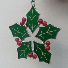 Stained Glass Suncatcher Green Christmas by RavensStainedGlass